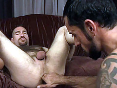 Hairy studs in hardcore blowjob and anal fucking action