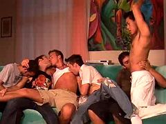 Six hunks in crazy gangbang party with seas of cum