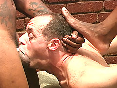 Interracial gay threesome blowjob assfucking cum