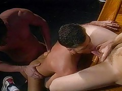 Hot guy strokes his cock whilst he watches a horny 3some !