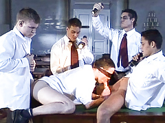 Blindfolded student is initiated to a hot frat boy gang bang